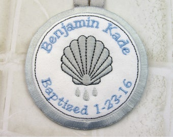Personalized Baptism Ornament with Baptism Shell in Gray and Blue