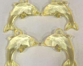 Yellow Dolphin Beads-Dolphin Beads-Yellow Beads-Animal Beads