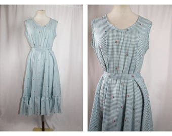 1970'S Vintage Blue checked western Style Dress