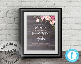 In Loving Memory Sign, In Loving Memory Wedding Sign, Forever in Our Hearts, Rustic Floral Wedding Memory Sign, Memorial Table Sign