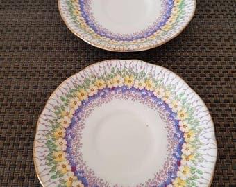 Retro Saucers/Royal Stafford/Bone China/English/2 Plates