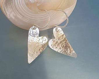 Beaten silver hearts, hammered earrings, silver heart jewelry, rustic heart earrings, wedding jewellery, anniversary gift, girlfriend bridal