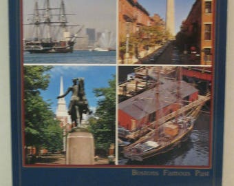 Boston Famous Past Four Scence of Boston Postcard