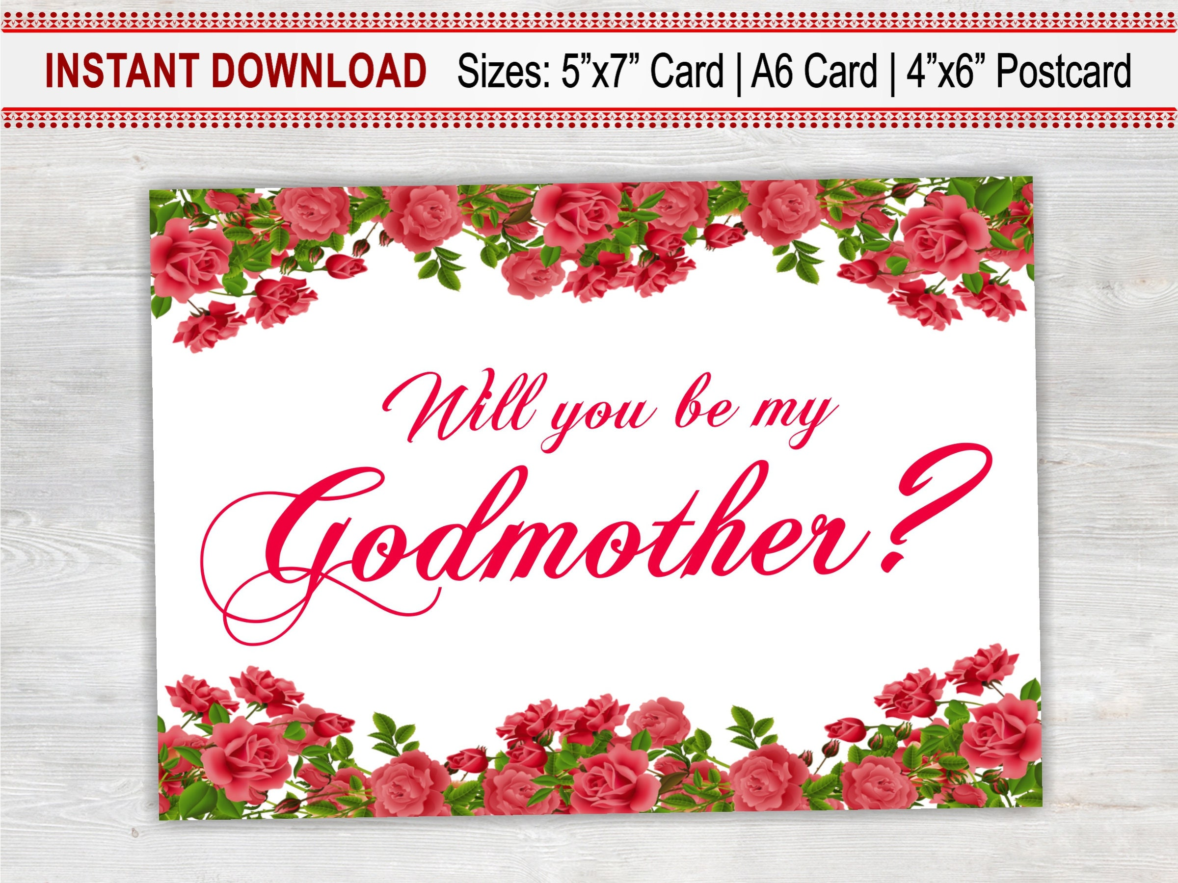 Will you be my godmother printable card floral card baptism card will you be my godmother printable card floral card baptism card godmother m4hsunfo