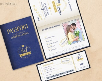 Passport Baby Shower Invitation Set - Boarding Pass Baby Shower RSVP - Plane Ticket Baby Shower - Instant Download