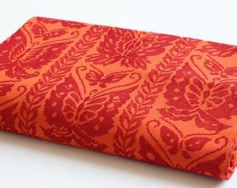 Orange Obi, butterfly Japanese Obi, Japanese belt, sash belt, Japanese fabric, kimono fabric, kimono textile, Japanese embroidery /1958