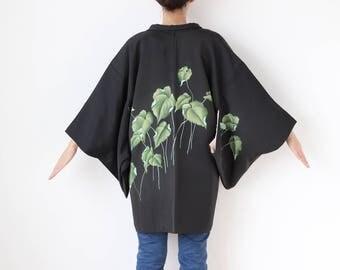 Lotus black kimono jacket, Haori, short kimono, vintage haori, Japanese haori, asian clothing, Japanese clothing, womens kimono /2150