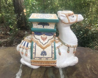Hollywood Regency Camel Garden Stool Plant Stand