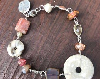 Bracelet, beaded bracelet, gemstone bracelet, sterling bracelet, glass bead bracelet, bee charm bracelet, hearts bracelet