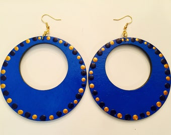 Large 3in Wood Hand Painted Blue Earrings Accented With Gold and Blue Dots