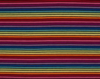 Yarn Dyed Multicolour Rainbow Stripes, Black - Cotton Lycra Jersey Knit Fabric