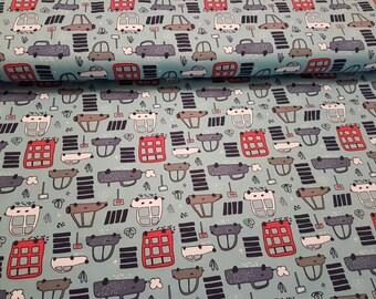 Beep Beep Cars, Stenzo Cotton Lycra Jersey Knit Fabric