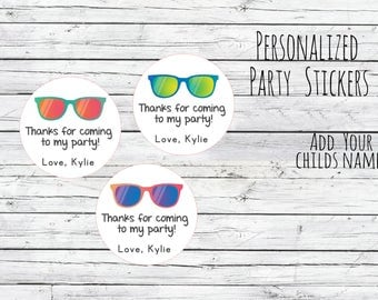 Custom Sunglasses Stickers, 80s Theme Summer, Sunglasses Labels, Awesome 80s Party, 50s Party ,Neon Party, Thanks for Coming, 80s Labels,