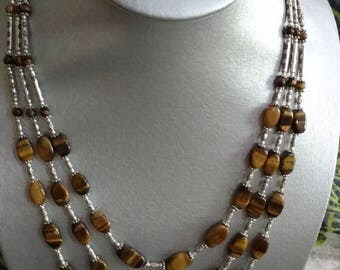 Three Strand Tiger Eye Necklace and Earring Set