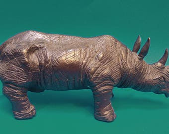 Rhinoceros Bronze sculpture 28 cm solid