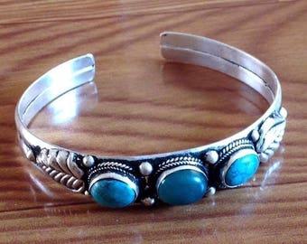Ethnic Turquoise Dark Green Bloodstone  Cuff Bracelet