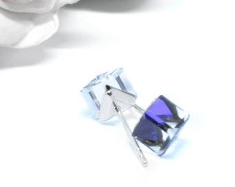 Earrings embellished with crystals from Swarovski® CUBE HELIOTROP 6mm silver 925
