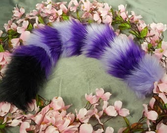 22 Inch Purple and Lilac Striped Tail with Black Tip