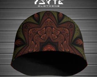 Beanie - Psychedelic Beanie - Green and brown beanie - Festival hat - Doof beanie - Bamboo beanie - Psy hat - fractal - Earth tribe beanie