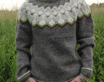 Icelandic sweater made of pure wool in grey with sheep! MADE TO ORDER.