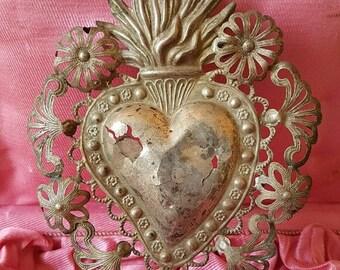 Save 25% Antique Italian  Sacred Heart Ex Voto IHM Flaming Heart Religious Ornament 1800s Angel Ex Voto  Cherub Ex voto
