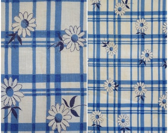 "Blue Plaid Feedsack Fabric / 1940s 50s Vintage Daisy Print Full Flour Sack/ Floral Farmhouse Cottage/ Quilting & Sewing Fabric: 45.5""x 37.5"""