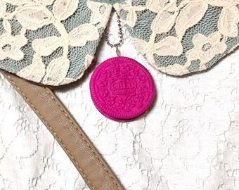 Magenta oreo charm necklace/ Magenta Oreo necklace/ Polymer clay magenta oreo necklace