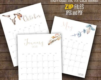 "2017 and 2018 Wall Calendar, Watercolor Boho, Printable Monthly Calendar, 8"" x 10"" Each month C103"