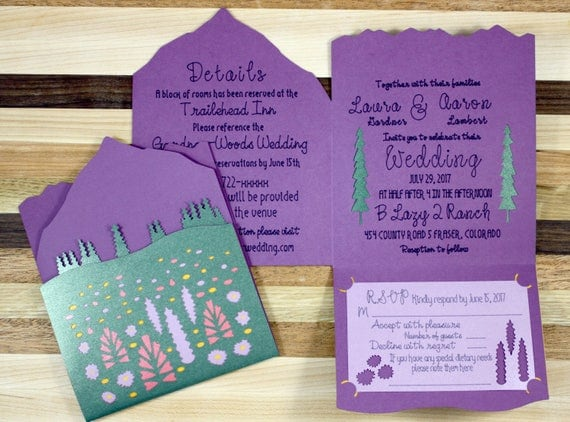 Wildflower Mountain Wedding Invitation Suite - Sample