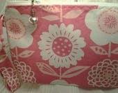 Pink Floral Bag, Zippered Flower bag, Pretty in pink bag