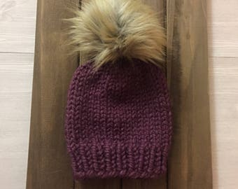 Toddler Hat - Back to Basic Beanie - Slouchy Knit Pom Pom Hat for Toddler - Knit Accessories