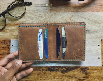 LEATHER WALLET - Brown Leather Wallet - Mens Leather Wallet - Leather Bill Fold - Wallet - Bi-Fold Wallet