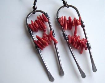 Earrings wire wrap with red coral bamboo sticks