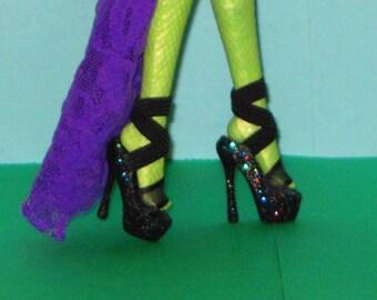 Monster High shoes FIERCE BLACK Platform shoes for Monster High 10.5 in, Ever After High, MH shoes, high heel shoes custom doll shoes
