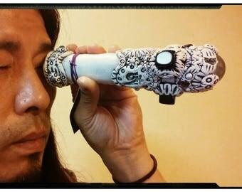 Crystal kaleidoscope PSYDRIVE ORIGINAL[Black onyx and Aum] /Psychedelic geometry art /Magical healing tool / Fractal mandala scope