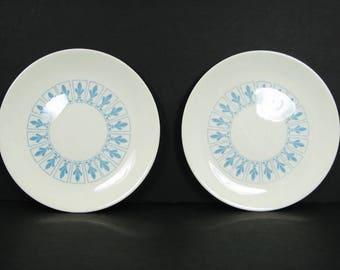2 Homer Laughlin Richelieu Fleur de Lis Salad Dessert 7.25 Plates Mid Century Modern MCM