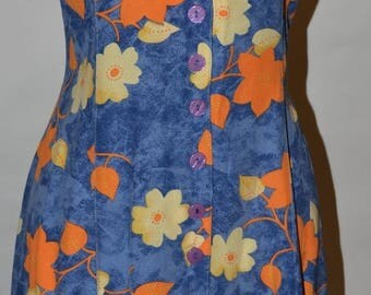 ClearanceSale45Off Vintage Blue and Orange Floral Dress by Hey You by Weh Mever