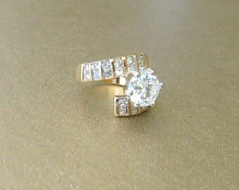 18K Gold Plated Cubic Zirconium Ring Size 5-1/2