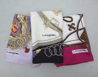 Lancel Silk Scarf Lot of 3 Lancel Paris Foulards