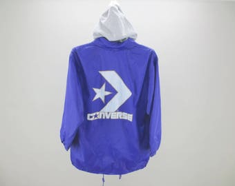 Converse Windbreaker Vintage Converse Jacket 90s Converse Vintage Casual Hooded Activewear Size 150 Womens Size S