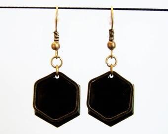 Sequin black enamel Hexagon earrings