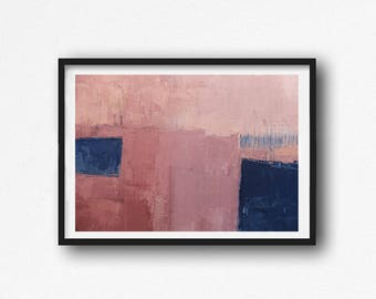 wall art abstract, Abstract Art Print ,coral, blue , navy blue ,  Digital Download Abstract Print, Large Abstract , landscape, pink, indigo