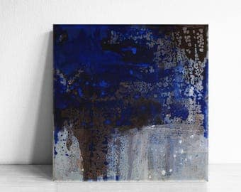 Abstract Wall Art, Original Painting, Modern Painting, Contemporary Painting, Modern Decor, cobalt blue, blue, black, brown, small acrylic