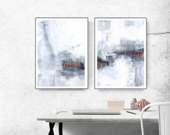 Set of 2 Prints, Abstract Art, Printable Print Set, Two Prints, Blue Wall Art, grey and white  copper , Living Room Art, Bedroom Art,