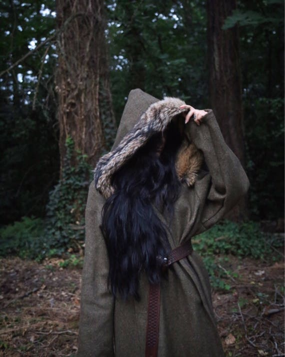 Wool Coyote Trim Viking Birka Coat, Kaftan, Caftan, Jacket, Norse, SCA, LARP Garb Celtic Slavic Anglo Saxon, Reenactment
