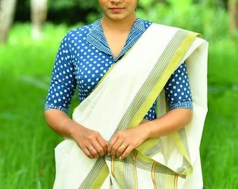 Kerala Settu Saree ~ Paddy Green
