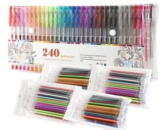 240 Colors Gel Pens Set  (120 Unique Colored Gel Pen + 120 Replace Ink Refills) for Adult and Kids Coloring  USA Seller with Fast Shipping