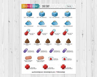 Sick Day Planner Stickers   Feeling Yucky Planner Stickers   17342-03