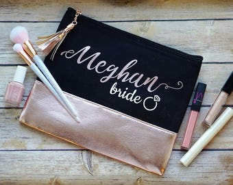 Bride Emergency Bag / Personalized Cosmetic Bag / Rose Gold Make Up Bag / Bridesmaid Proposal / Rose Gold Cosmetic Pouch / Bridal Party Gift
