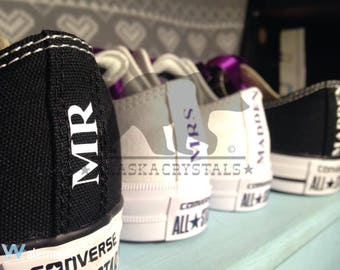 Fully customizable Personalized Converse, wedding converse, matching converse, Swarovski converse, bridal converse, his and hers, heel tags